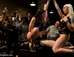 Brunette Slut FISTED and ANALLY PLOWED in front of an audience of 70!!