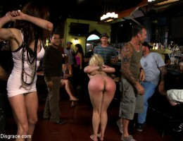 Alice Frost is bound tightly, made to gag on cock, anally fisted, ass fucked, and humiliated in a public bar in porno valley!!