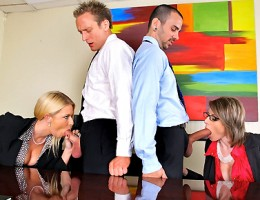 2 amazing babe starring riley evans discipline their 2 employees by having them fuck them in the ass in these hot anal fucking office 4some movies