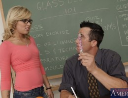 Teacher finds blonde babes dildo and she uses it and makes him fuck her.