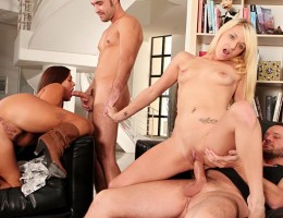 hot couples fuck eachother in all holes in the living room!