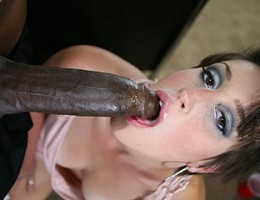 Super cute office slut rides a black cock deep into her pussy