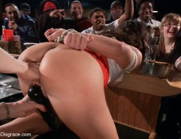 Lorelei Lee and Karlo Karrerra dominate their toy for the evening, Mia Gold, in public. Fucked, bound, and humiliated for all to see!
