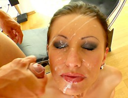 Pornstar Nikky Ryder blows 4 dicks and then gets her face sperm-painted