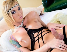 Aubrey Kate, the top model of shemales strokes her big dick