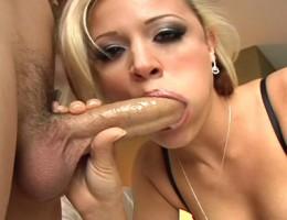 Blonde Slut Sucking And Deepthroating A Big Cock For Cumshot