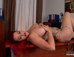 Busty Redhead Paige Delight Licks Her 38F\'s Pierced Nipple