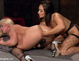 Lea Lexis and Leya Falcon ass fucking, anal lesbians.