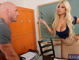 Busty blonde teacher Bridgette B. thinks that her college students are too old to be playing pranks on each other. She calls in the suspected culprit of the last prank in to her office and has him confess, but since the culprit also happens to be her favo