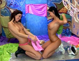 Sexy lesbian teenies having hot licking and dildoing sex
