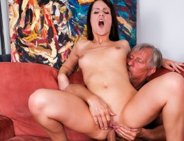 Euro slut Babette rides Christoph with his cock in her ass.