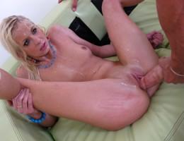Tight blonde slut gets her pussy fucked hard!