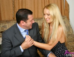 Stunning blonde babe fucking a rich senior for some cash