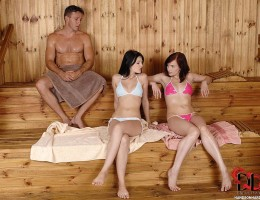 Choky nails two delicious Euro babes in the dry sauna