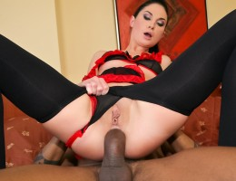 Beautiful blue-eyed babe ass fucked hardcore by black cock !