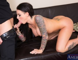 Busty babe Christy Mack gets her tits touched then her pussy fucked by her friend\'s big cocked boyfriend.