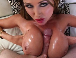 Asian slut is covered with oil and gets tit fucked by Jonni