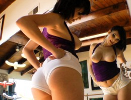 Smoking hot girls playing with themselves by making a wedgie