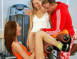 Two sporty girls love cock inside from their instructor