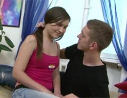 Gorgeous sexy teenage babe screwing her horny boyfriend