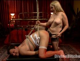 Slave is sissified, deeply punished and gets electrical shock to his exploding dick.