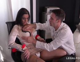 Must-see BDSM threesome with Loren Minardi handcuffed & DP\'ed at the office GP789