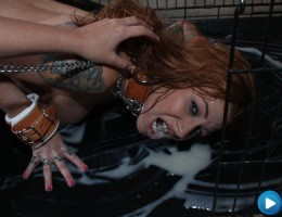 Scarlett Pain gets covered in a face full of cum!