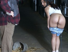 Young teenage babe screwing hardcore in the hay at a farm