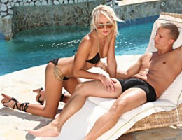 Hot Ivana Sugar is out lying by the pool when she gets horny