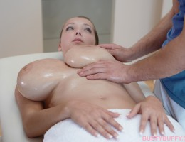 Busty Buffy enjoys oil massage and free pussy fingering