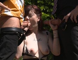 German babe Scarlet Rose enjoys a threesome action