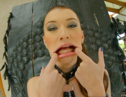 Misha Cross blowbang action with five guy bukkake