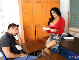 Busty teacher Romi Rain wakes up sleeping student so he can fuck her pussy on her desk.