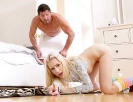 Stepdad gets stuck under a chair and stepdaughter uses that opportunity to suck his big dick.