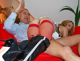 Cute girl opens up her legs for a senior his big erection