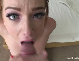 Dani Jensen\'s first cum swallowing experience