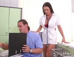 Busty nurse Patty Michova goes nuts on two big hard dicks at the hospital GP670