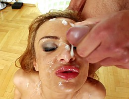 Slutty brunette deep throats six hard cocks and has them cum all over her face