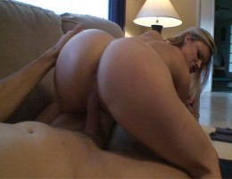 Horny blonde slut has a rainy day in with her boyfriend.