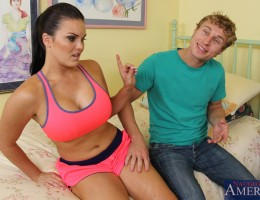 Busty brunette Mackenzee Pierce is stopped while jogging and fucks her friends boyfriend.