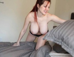 Tessa Fowler show us hot to make the bed with big tits