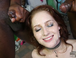 Petite redhead can\'t wait to blow 8 of the meanest black guys around
