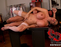 Hot anal action in the office with sexy Clanddi and David!