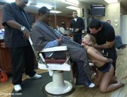 Shani Ried gets PLOWED in a Barbershop full of huge COCKS!!!