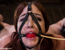 Extreme bondage with a brutal assault on this slut\'s entire body.