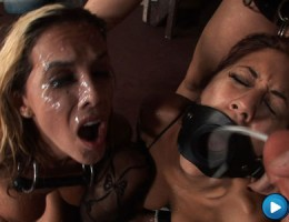 Cum bucket Kaylani get fucked hard and covered in jizz!
