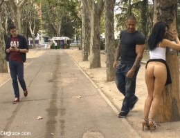 A glorious walk of shame for our little spanish slut, through a park and public square- finally getting pounded in a bar in front of a horny crowd