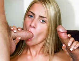 Hot young blonde deep throats the fuck out of 2 huge cocks!