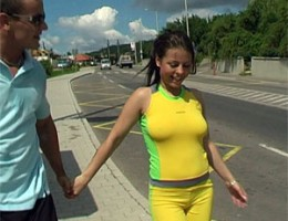 Big breasted jogging teenager gets seduced on the streets