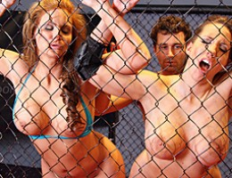 All you need to get your dick rock hard is big tits, big asses and two hot sluts wrestling each other! Locked in a cock cage match, these ass slamming whores can\'t keep james from becoming part of this big dick action event!